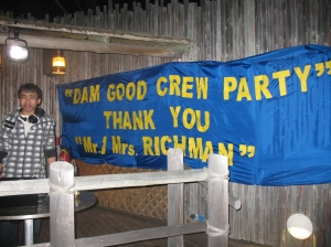 Wow. The crew made this banner last night. No sleep for them!